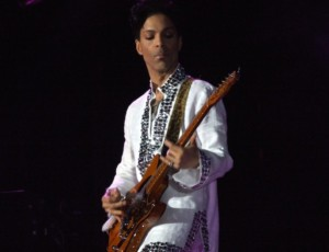 Prince playing guitar