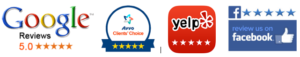 Yelp, Avvo, Google, Super lawyers, and Facebook Five Star Customer Review Banner