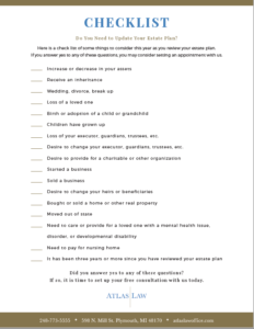 Downloadable Checklist to determine if you need to update your estate plan