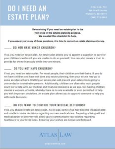Downloadable Checklist to determine if you need an estate plan