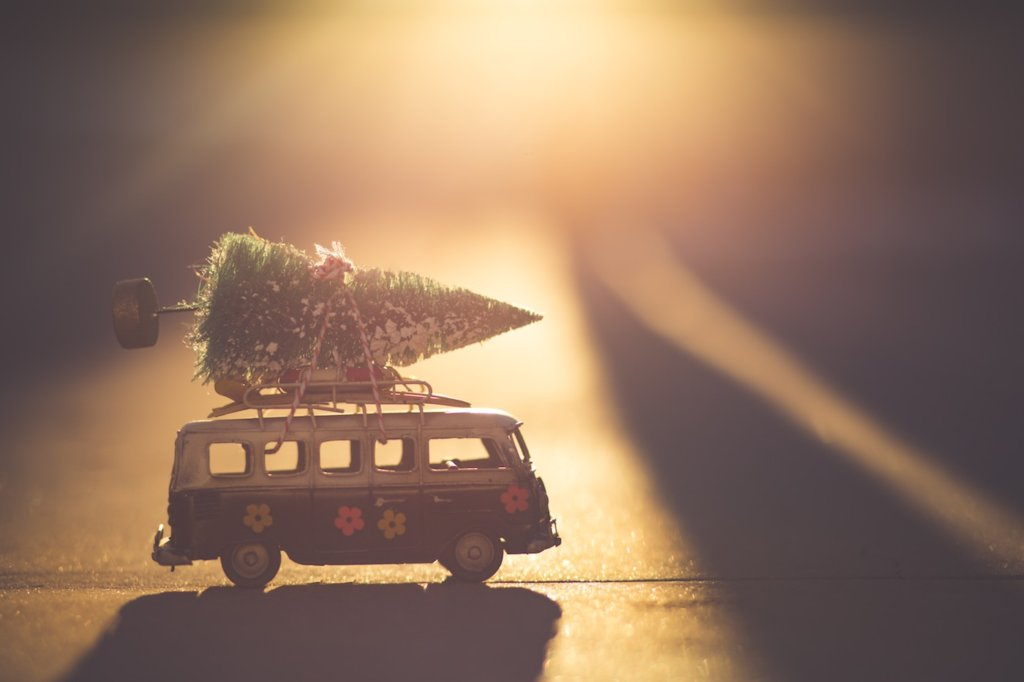 Volkswage Bus with Chrstmas Tree on Top