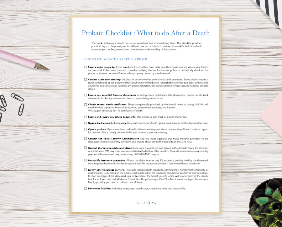 Probate Checklist What to do after the death of a loved one
