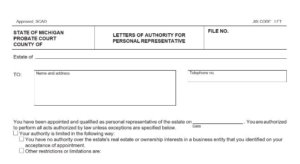 Example of Letter of Authority Form
